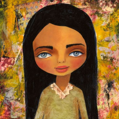 mixed media cute art painting
