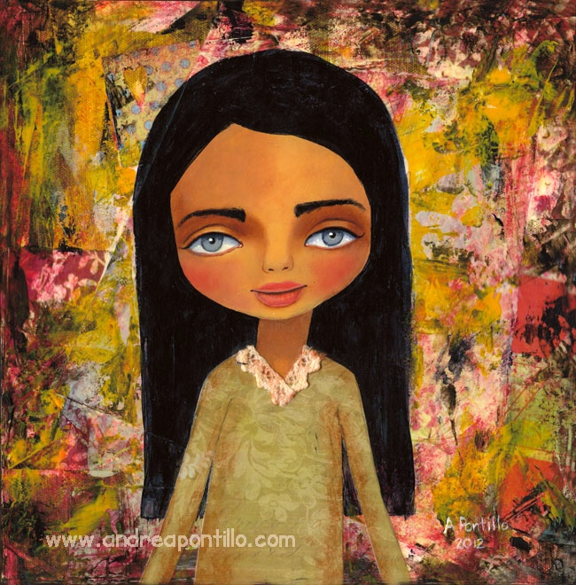 Mixed media art painting cute girl