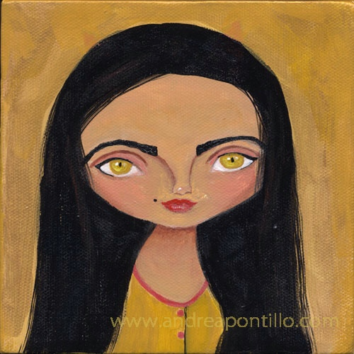 Acrylic painting girl with gold paint