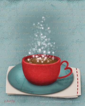 Digital art painting hot chocolate coffee hearts